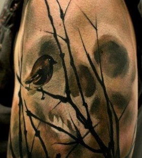 Black bird watercolor skull tattoo