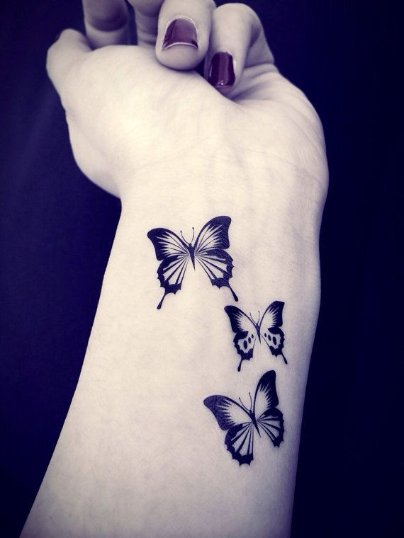 Black butterflies temporary tattoo