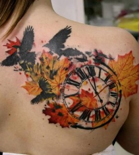 Black clock autumn colorful tattoo
