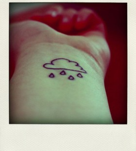 Black clouds and drops small tattoo