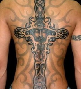 Black cross men's back tattoo