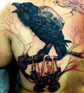 Black crow tattoo by Victor Chil