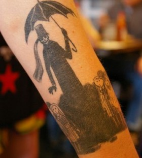 Black cruel tattoo by Edward Gorey