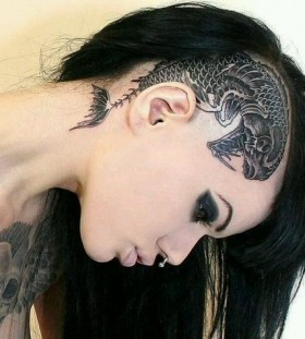 Black fish tattoo on head