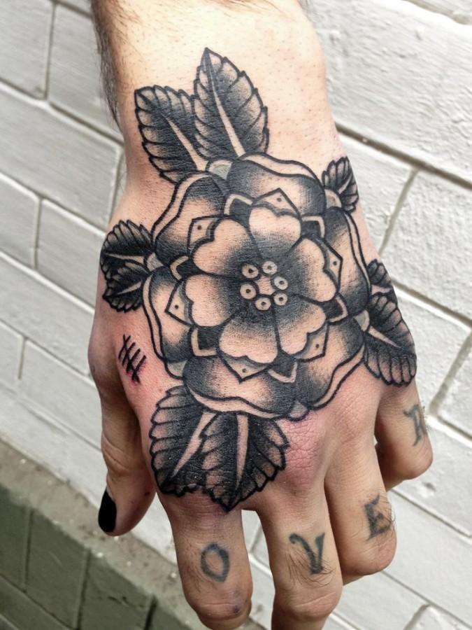 Black flower American Traditional Tattoo