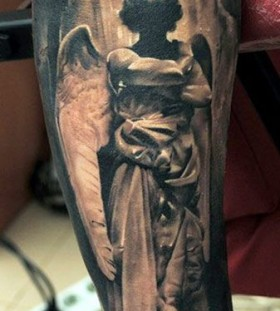 Black gorgeous angel tattoo
