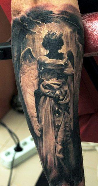 Black gorgeous angel tattoo