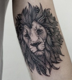 Black gorgeous lion tattoo
