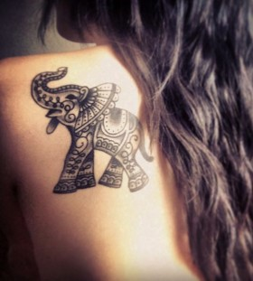 Black hair and adorable elephant tattoo