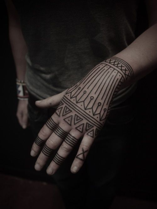 Black lines geometric style tattoo