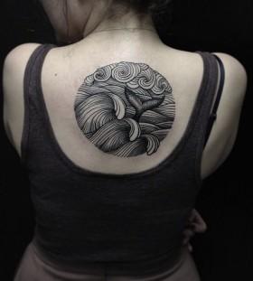 Black lines wave tattoo