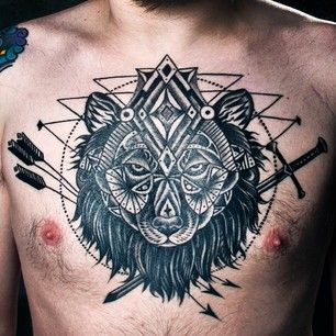 Black men's chest game of thrones tattoo