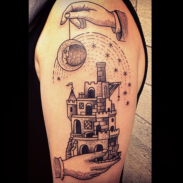 Black moon and castle tattoo