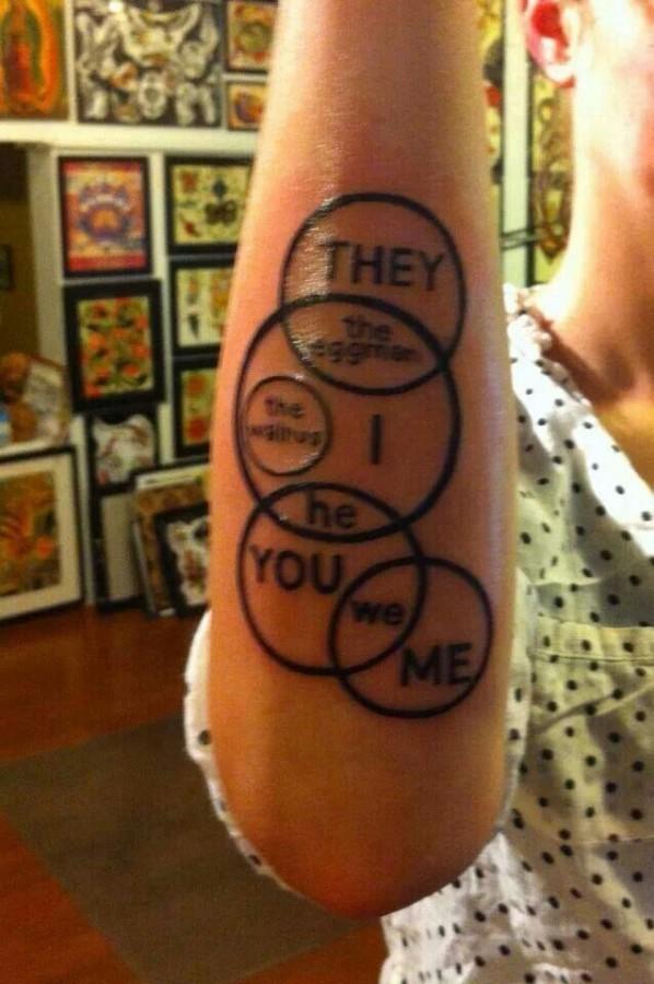 Black owal Beatles tattoo