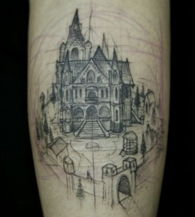 Black painted castle tattoo