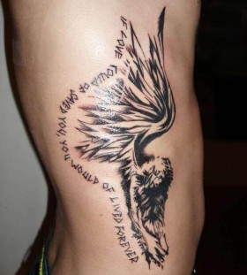 Black quote and angel tattoo