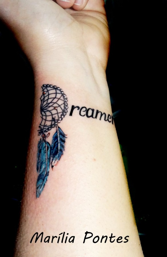 Black quote and feather TATTOO BY- Marilia Pontes