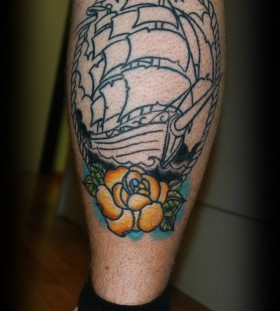 Black ship sunflower tattoo