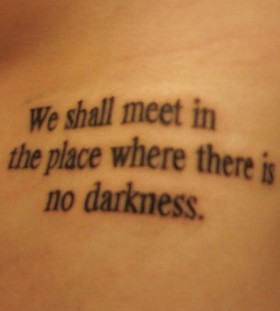 Black simple quote tattoo
