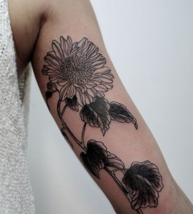 Black simple sunflower tattoo