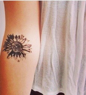 Black sunflower lovely flower tattoo