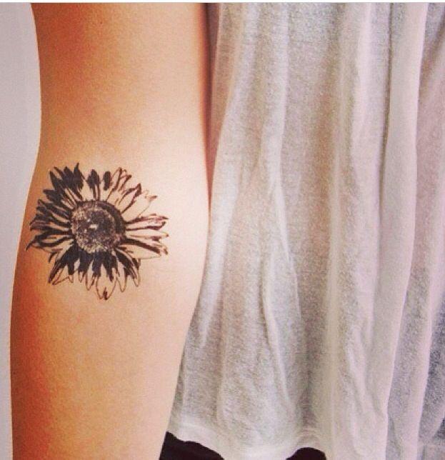 Black sunflower lovely flower tattoo