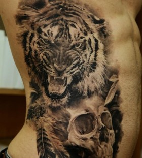 Black tiger and skull tattoo