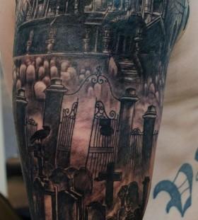 Black town halloween tattoo