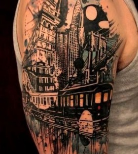 Black town shoulder ship tattoo