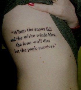Black word's quote tattoo