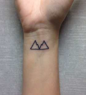 Black wrist mountain tattoo