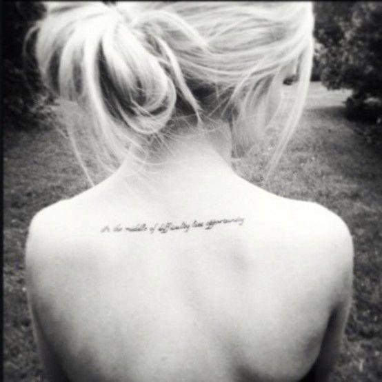 Blonde girl back quote tattoo - | TattooMagz › Tattoo ...