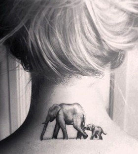 Blonde girl tattoo on neck