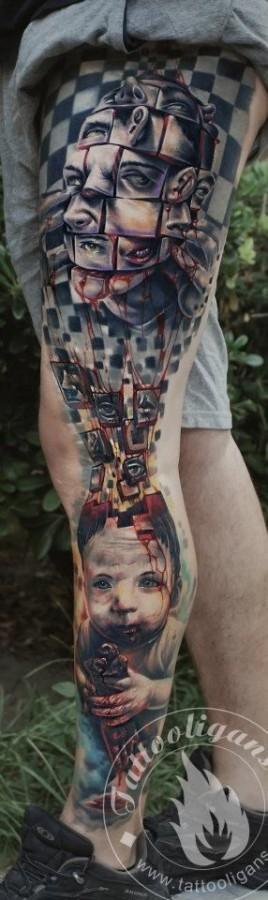 Blood and men's faces tattoo on men's legs