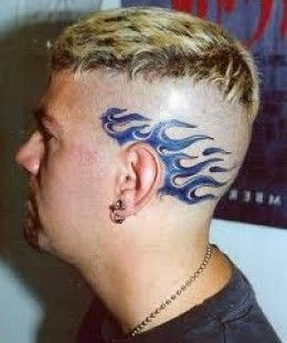 Blue fire tattoo on head