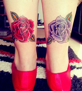 Blue leg's and pink rose tattoo