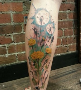 Blue leg's sunflower tattoo