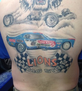 Blue lion car tattoo
