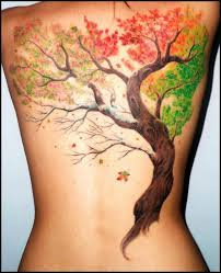 Brown tree autumn colorful tattoo