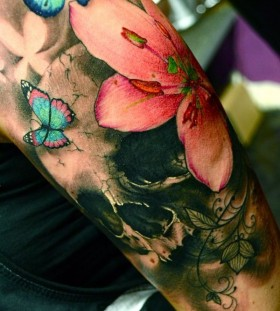 Butterfly and flowers watercolor skull