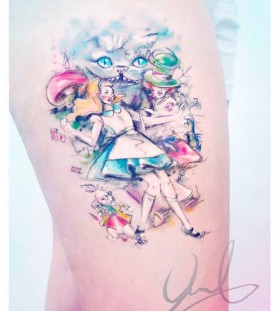 Cat and girl's tattoo by Candelaria Carballo