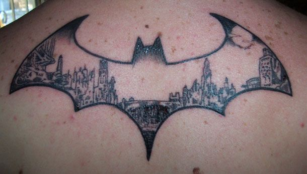 City, buidings and batman tattoo