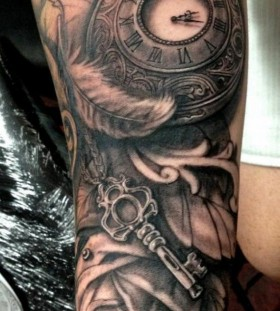 Clock Roman numbers feather tattoo