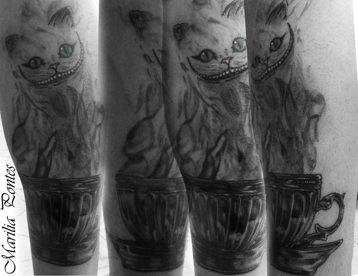Coffee cup and cat TATTOO BY- Marilia Pontes