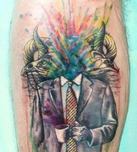 Coffee cup and suit tattoo by Candelaria Carballo