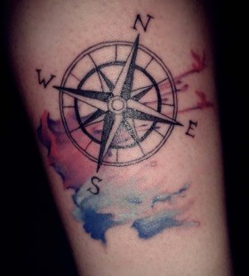 Colorful and black compass tattoo