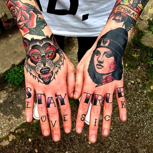 Colorful fingers American Traditional Tattoo