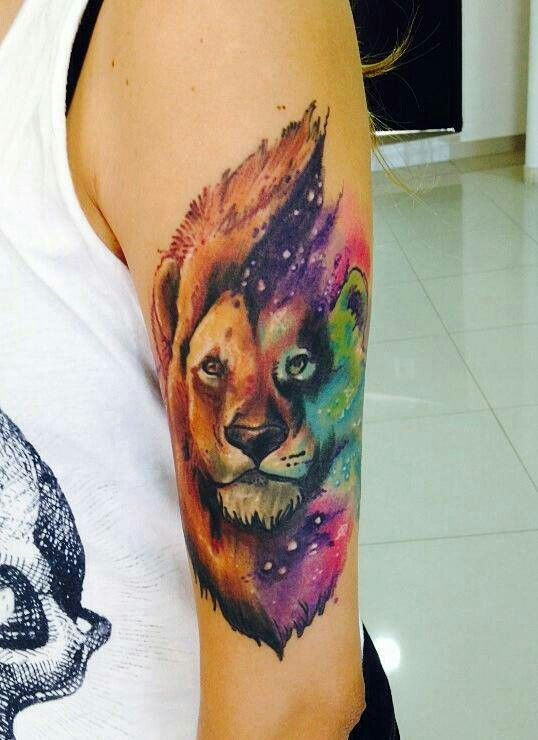 Colorful looking lion tattoo