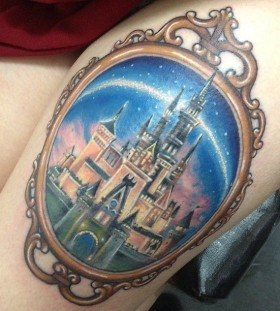 Colorful mirror castle tattoo