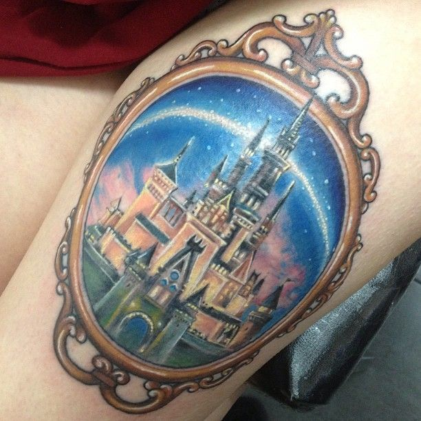 Colorful mirror castle tattoo